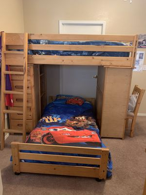 Children's Bunk bed set made of real oak for Sale in Las Vegas, NV