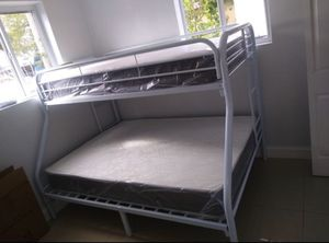 Twin over full bunk bed new in the box with the mattresses and free shipping for Sale in Hialeah, FL