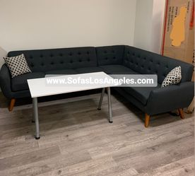 REAL SHOWROOM 😁 WE FINANCE - ASH BLACK L SHAPE MID CENTURY STYLE COUCH SOFA SECTIONAL COUCHES for Sale in Los Angeles,  CA