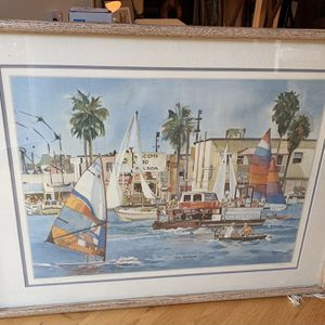 "Right Of Way - Balboa Ferry, 1984, by Ruth Hynds watercolor, 32""w x 24-3/4"" for Sale in Menlo Park, CA"