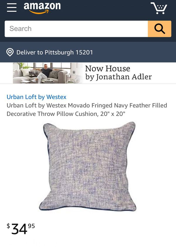"""Urban Loft by Westex Movado Fringed Navy Feather Filled Decorative Throw Pillow, 20"""" x 20"""""""
