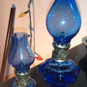 2 Vintage Kobalt Blue Miniature Oil Lamps for Sale in Zephyrhills, FL