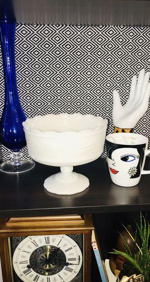 Vintage White White Glass Pedestal Bowl E O BRODY Cleveland O. Scalloped Decor Collectable for Sale in Boca Raton, FL
