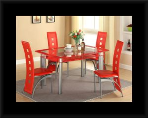 Glass red dining table with leather chairs for Sale in Brentwood, MD