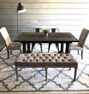 """Restoration hardware 72"""" elm wood solid dining table with bench & chairs for Sale in San Diego, CA"""