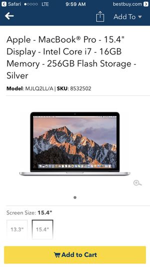 MacBook Pro 15.4 Retina display for Sale in Sherwood, AR