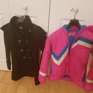1 black coat & 1 pink jacket fit size up to size 14 for Sale in Waterbury, CT