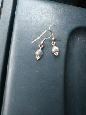 Silver earrings with small blue designs for Sale in TN, US