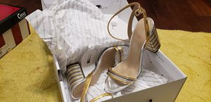 Aldo Size 8 Gold and Silver Block Heel Sandals for Sale in Baltimore, MD