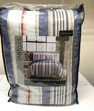 New Full/Queen Comforter & Pillow Sham Set Blue, Brown, Red, Tan Stripes for Sale in Wake Forest, NC