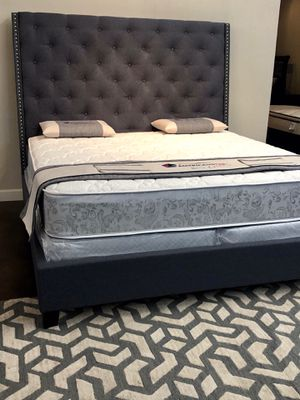 King deluxe dark linen bed with mattress and free delivery for Sale in Austin, TX