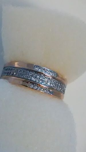 $30 size 7 white sapphire wedding band 18K heated layered gold over 925 Sterling ring for Sale in Lombard, IL