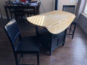 Crate&Barrel Belmont Black High Dining Table w/ 2 Chairs for Sale in St. Louis, MO