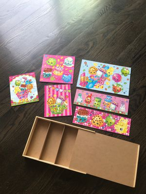 Shopkins puzzle set with wooden case for Sale in Hawthorn Woods, IL