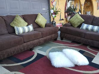 Corduroy Brown Set 2 couches With Pillows Clean And Good Condition for Sale in Las Vegas,  NV