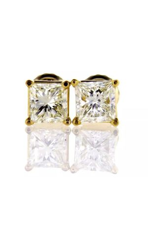 1CT Natural Diamond Stud Earrings 14K Yellow Gold VVS2 Certified for Sale in Los Angeles, CA