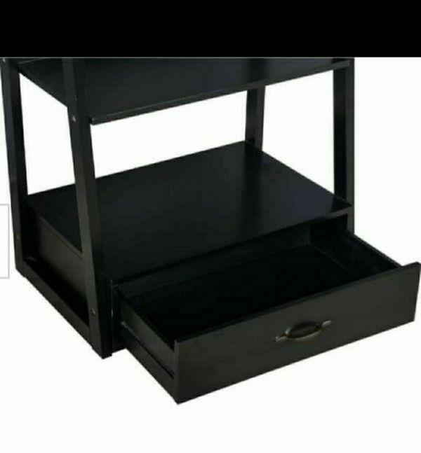 "64"" Black Wood 5-shelf Ladder Bookcase with Drawer"