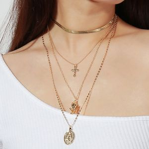 Vintage Rose Flower Cross Christian Portrait Long Pendant Necklace, Gold Color for Sale in Irvine, CA