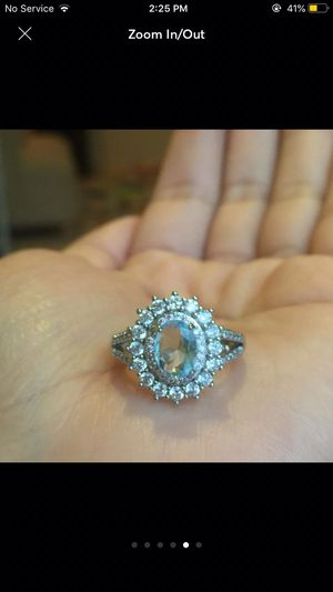 Gold plated diamante blue topaz ring size 6,7,8,9 available for Sale in Silver Spring, MD