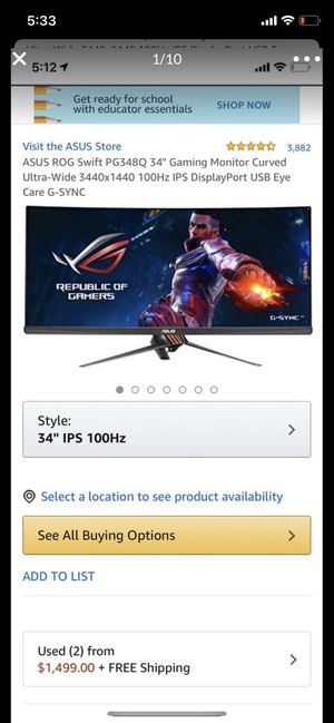 """ASUS ROG Swift PG348Q 34"""" Gaming Monitor Curved Ultra-Wide 3440x1440 100Hz IPS DisplayPort USB Eye Care G-SYNC for Sale in Phoenix, AZ"""