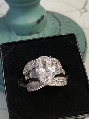 3 Pcs Wedding Ring Set Size 7 Rhodium Plated Over Sterling Silver for Sale in Nashville, TN