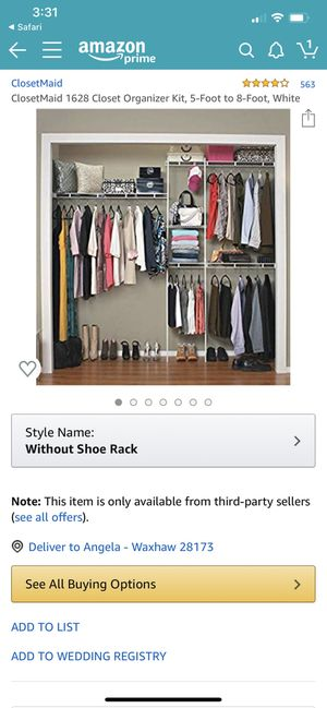 BRAND NEW 5' to 8' Closet Organizer for Sale in Charlotte, NC