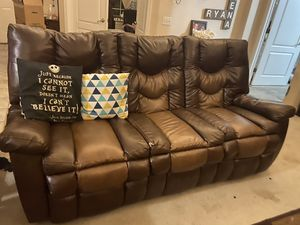 Duel Reclining Sofa - Brown Leather for Sale in Riverside, CA