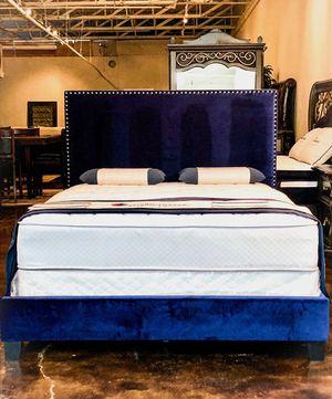 Blue queen size bed plus queen size plush mattress for Sale in Grand Prairie, TX