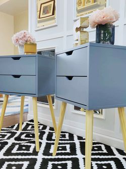 Mid Century Night Stands Grey color. Set of 2. New. for Sale in Auburn,  WA