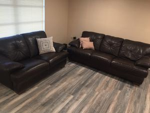 Like new Dark Brown all leather ( back and front) Sofa and Love Seat for sale in excellent condition for Sale in Port Richey, FL