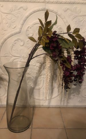 Large glass vase with flowers for Sale in Virginia Beach, VA