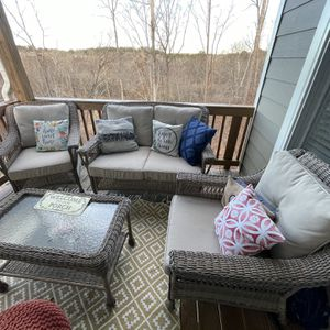 Gently Used Patio/ Deck Sofa Set /4pcs- 8 cushions -$200 for Sale in Suwanee, GA