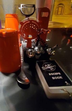 Orange essential bar tools and mini recipe book for Sale in Chicago, IL
