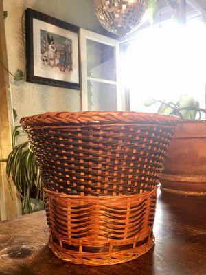 Vintage Bamboo Wicker Rattan Basket Boho Chic Plant Basket Mid Century Modern Trash Basket - Pick Up LA or OC for Sale in Los Angeles, CA