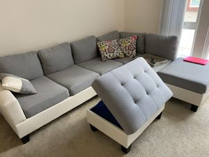 Sectional couch with storage ottoman for Sale in San Jose, CA