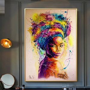 Africa Women Printed Posters Abstract Girl Portrait Canvas Painting Colorful Oil Wall Art Painting for Living Room 28 height 19 weid for Sale in San Jose, CA