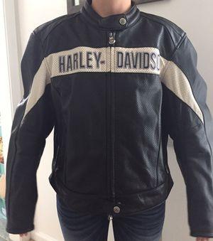 Harley Davidson Motorcycle Leather Riding Jacket Ladies Women Black White Stripe Near Perfect for Sale in Virginia Beach, VA