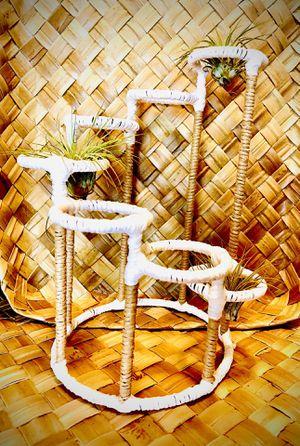 Beach house decor home decor boho decor rustic decor farmhouse decor handmade hand wrapped white tan SEVEN tier candle holder live air plant indoor o for Sale in Covina, CA