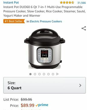 Instant Pot DUO60 6 Qt 7-in-1 Multi-Use Programmable Pressure Cooker, Slow Cooker, Rice Cooker, Steamer, Sauté, Yogurt Maker and Warmer for Sale in North Las Vegas, NV