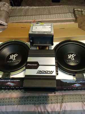 Highfonics 12 in 300 watt pioneer amp and jenson double din tv /radio for Sale in Galloway, OH