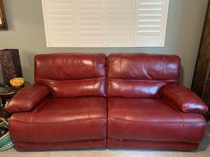 Beautiful Red Electric reclining couch and matching chair- excellent near mint condition for Sale in Santa Cruz, CA