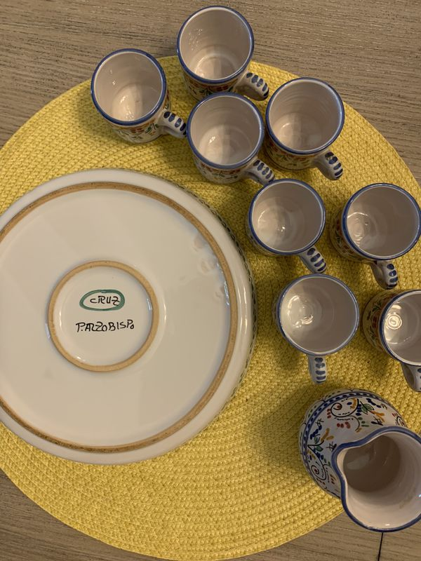 10 pc Spanish pottery coffee set