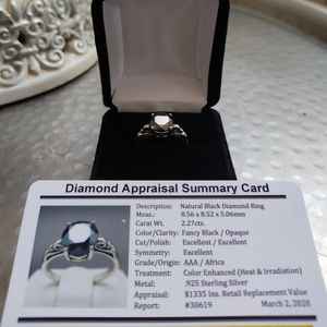Black diamond ring 2.27cts NEW - Size 6.5 - engagement, promise, wedding - .925 silver for Sale in Englewood, CO
