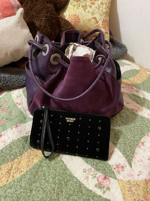 Leather Drawstring Purple Purse and wallet for Sale in Spanaway, WA