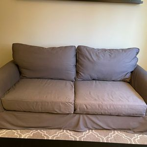 Pottery Barn Comfort Roll Arm Slip Covered Sofa (Grey Fabric Cover) for Sale in Aurora, OR