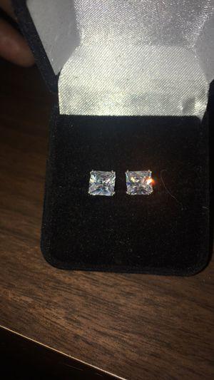 2 carat sterling silver emerald sterling earrings for Sale in Orlando, FL