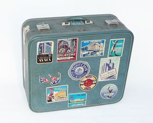 Mid Century Vintage Stewardess Suitcase w/ Authentic Destinations Decals for Sale in Irvine, CA