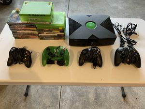 Original xbox, 4 controllers, and 25games for Sale in Kent, WA