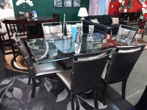 Glass dining set 6 chairs for Sale in Everett, WA
