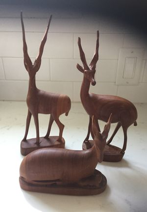 Vintage solid wood mid century modern hand carved antelope gazelle statue Decor/3 for Sale in Des Moines, WA